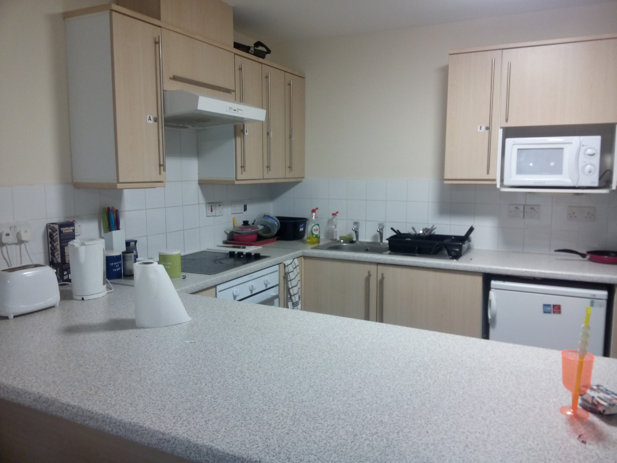 Private kitchen for users of individual flat, not shared with other accommodation users